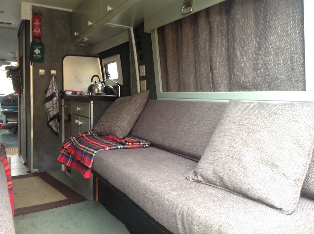 Inside I have a kitchen and bathroom and the sofa folds down into a bed. It's a mini studio flat on wheels basically.