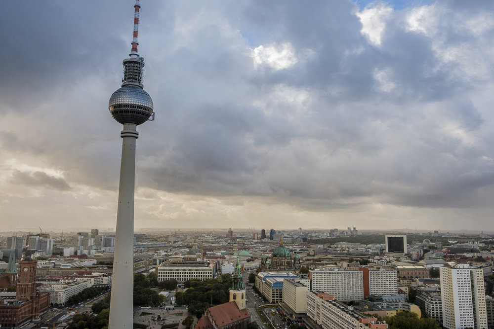 View from the roof of the Park Inn Hotel in Alexanderplatz, Berlin