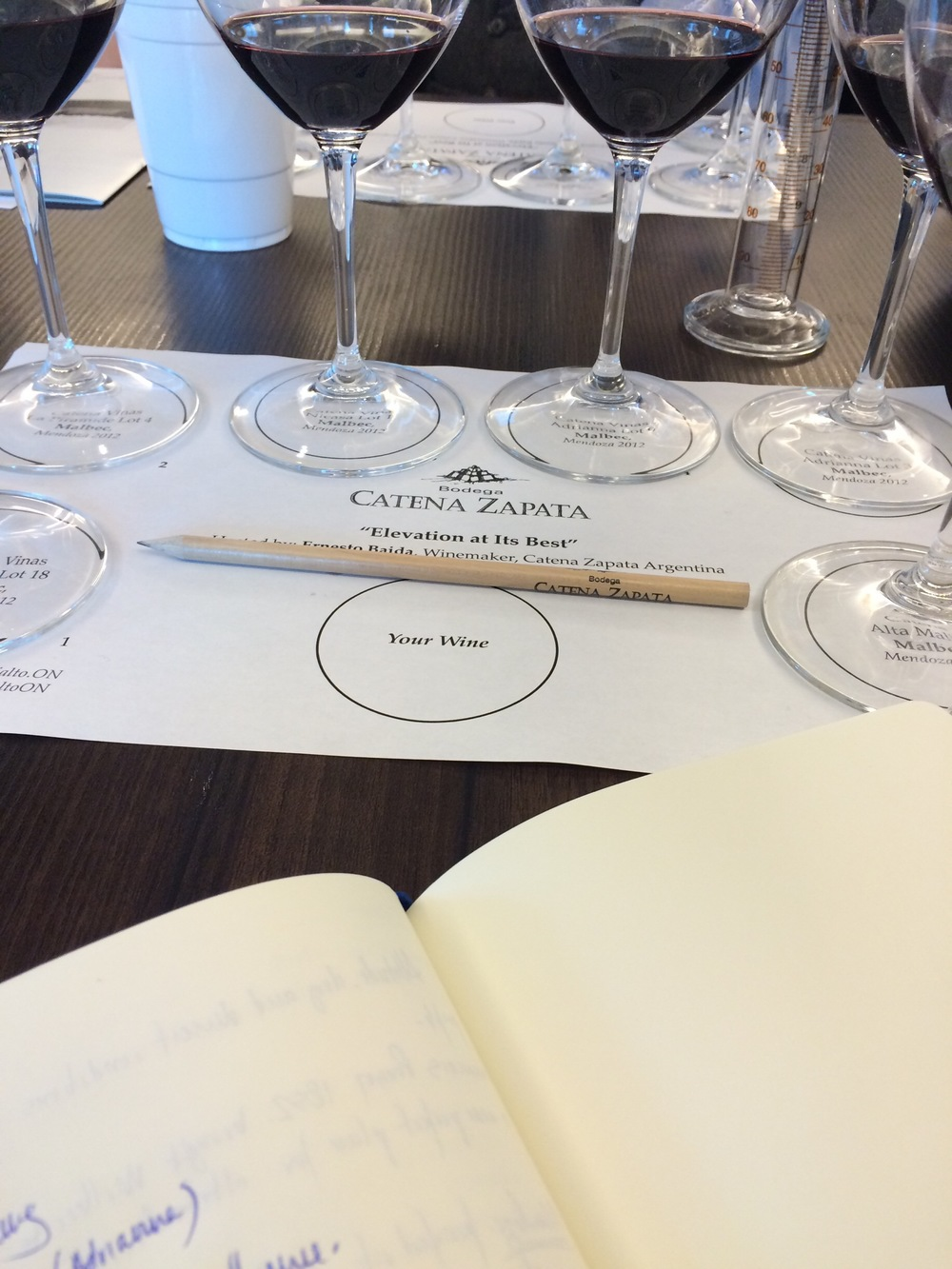 the tasting begins. CATENA ZAPATA