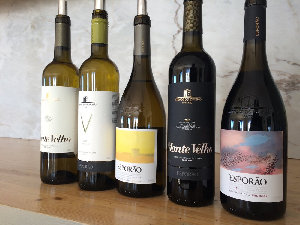The core brands of Esporão. Each vintage the label of Esporão Reserve White and Red is commissioned to a noted Portuguese artist/painter. Here the work of Pedro A.H. Paixão