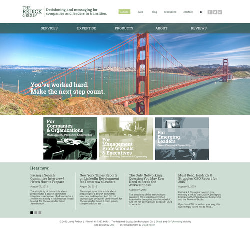 Home page design concept. Scrolling hero displays a variety of famous international bridges, providing a visual reference to professional progress, as well as linking The Redick Group to its sister organization whose site features the Golden Gate Bridge.