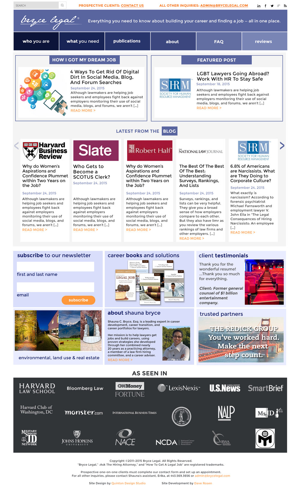 Home page design concept.  I designed the home page to be blog-driven because my client so frequently writes and posts across a variety of web sites, and this is her most useful marketing tool. The card layout below the blog displays a mixture of call to action, product links, client/colleague reviews, and partner advertisements which can be modified as desired.