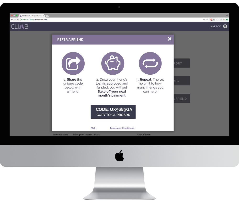 Our solution, a quick summary with fun icons and a single option to send the referral link via personal email