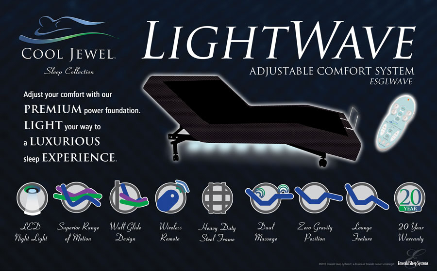 LightWave adjustable mattress with wireless remote control