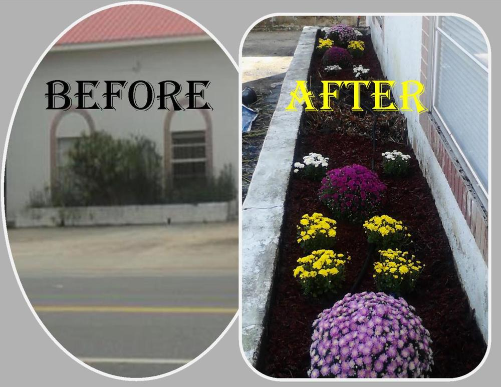 DeFuniak Office before and after photo of our front garden!