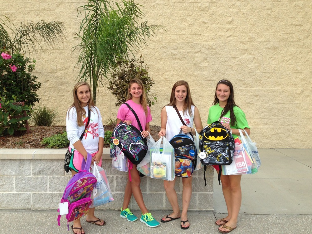 Niceville UMC, these four lovely ladies filled up four backpacks for our kids!