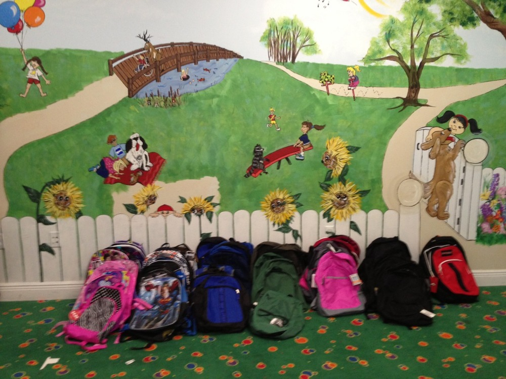 Look at all the different back packs we received.