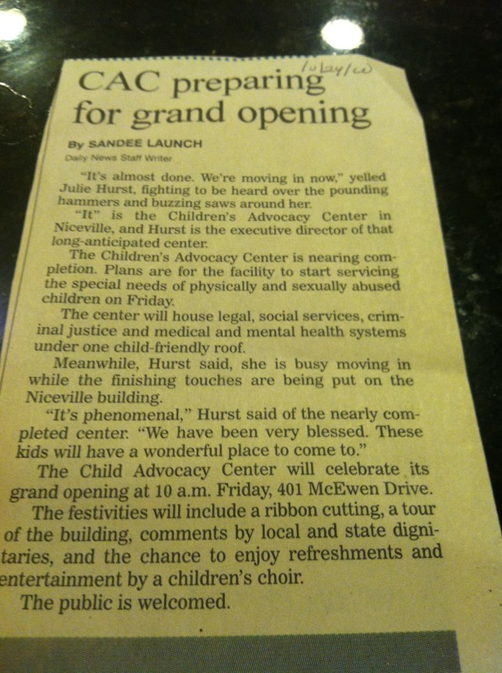 The news article that came out in 2000 when we were first opening up our doors.