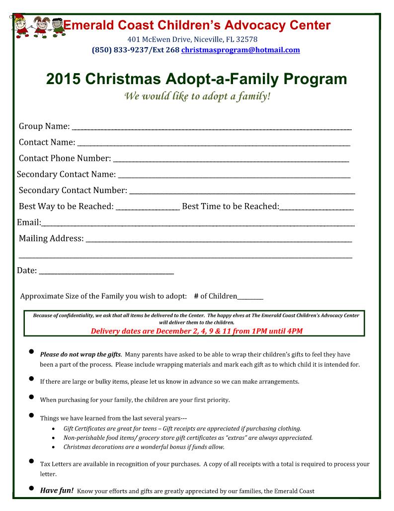 Adopt A Family For Christmas.2015 Christmas Adopt A Family Program Emerald Coast