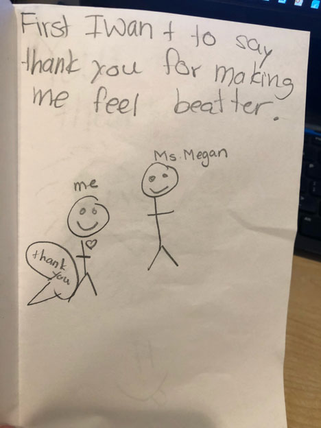 This card was given to one of our therapist by one of the children we see. This child was one of four siblings who were all sexually abused by the same perpetrator. It exemplifies the work we do.