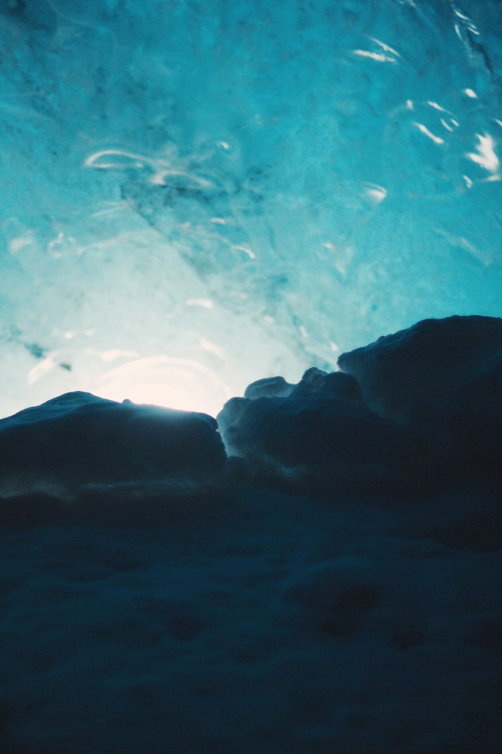 blue ice cave snow