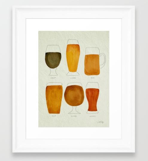$40 - Framed Beer Watercolor