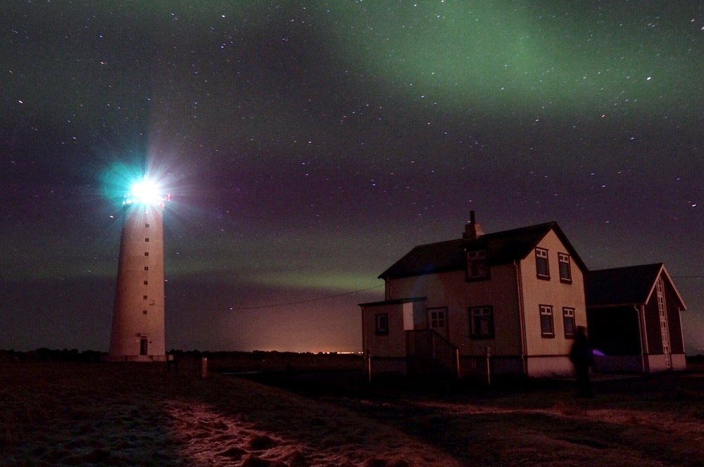 A lucky night seeing the Northern Lights inside city limits at Grotta Lighthouse