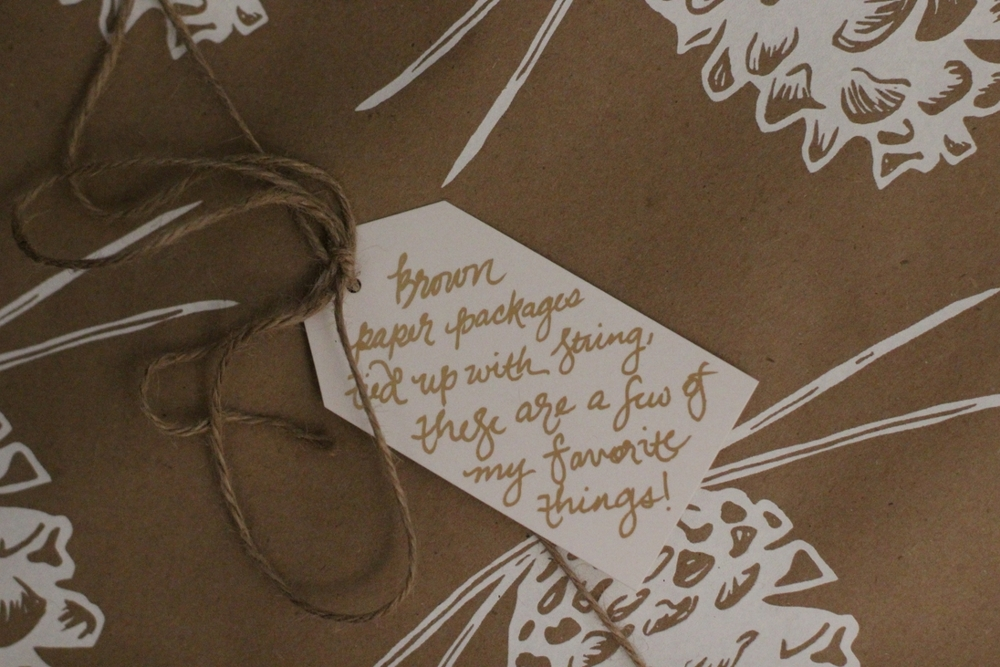 """Brown Paper Packages"" Gift Tag   This  Pine Cone Wrapping Paper  is perfect!"