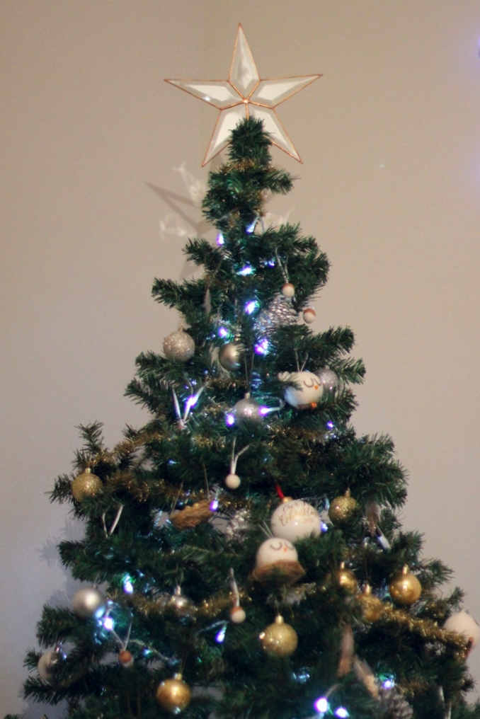 I really love this  Star Christmas Tree Topper . It's so simple! I grew up with a horrendous tree topper. It was an angel with a black and red striped dress. So chic.. I was determined to find a simple one for my first tree and this one is perf!