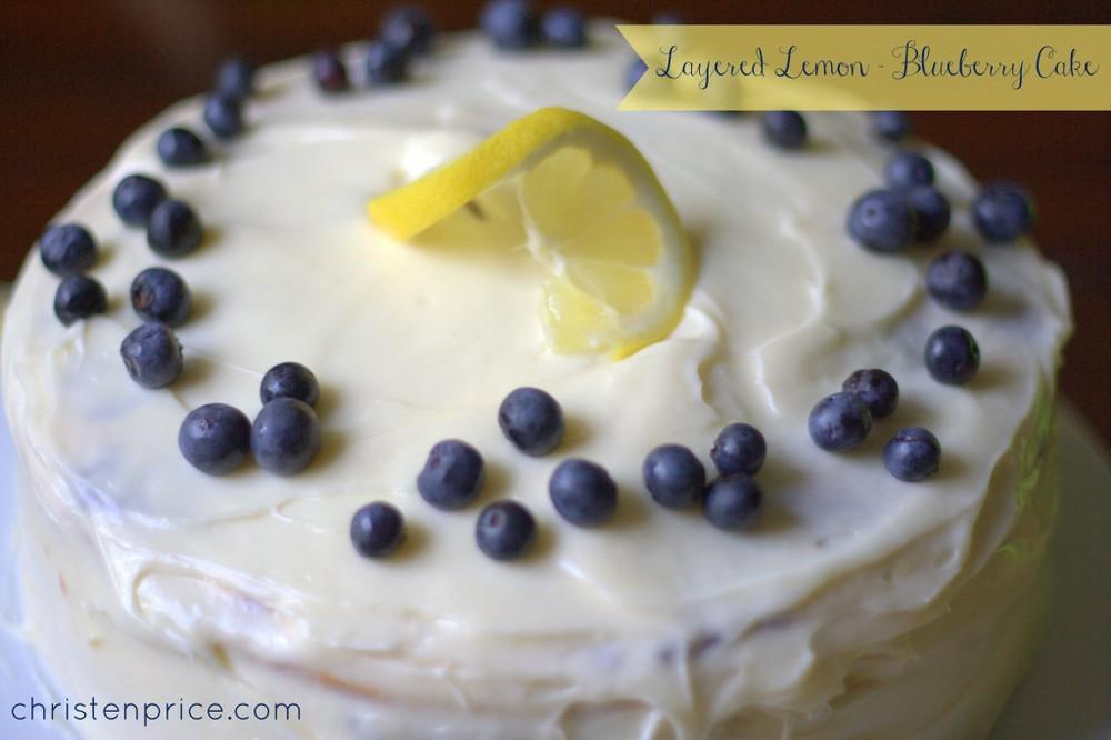 layered lemon blueberry cake