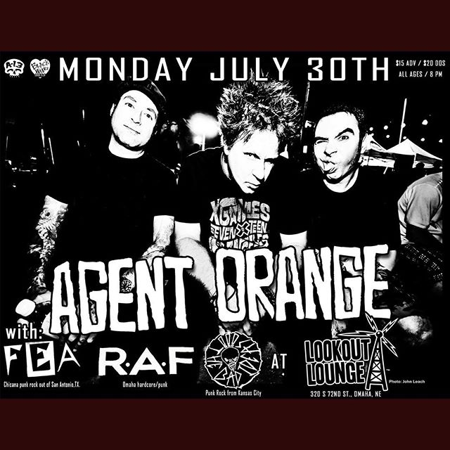 TONIGHT! @blackheartbook and @a13punkrock bring you Legendary SoCal punk rockers, Agent Orange, with Fea, RAF and The Bad Ideas! Doors at 7, Music at 8!