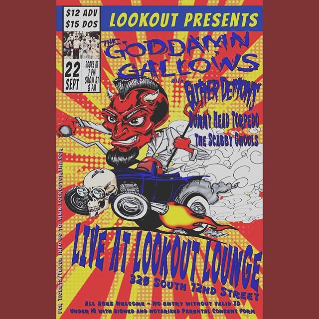 SATURDAY NIGHT!!! Come see @thegoddamngallowsofficial with @gutterdemonsofficial Dummy Head Torpedo and @thescabbyghouls!!!! This is definitely a can't miss show! Let's party!