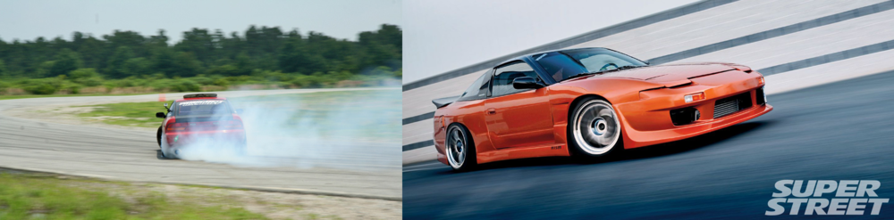 Left: Club member Dan Summers drifting his 240sx at a Driftwater event.  Right: Image from club member Jared Hageman's 240sx Super Street Magazine feature from 2009