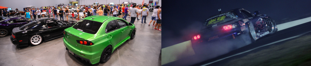 Left: Club members James Beck and Mike Torres' cars in the display hall at Springfest 2014. Right: Club member Danny Domenech in his 945 Garage RX-7 drifting at Englishtown, NJ
