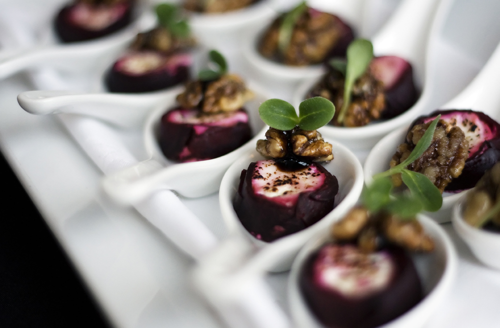 Goat's cheese wrapped in beetroot with glazed walnut.jpg
