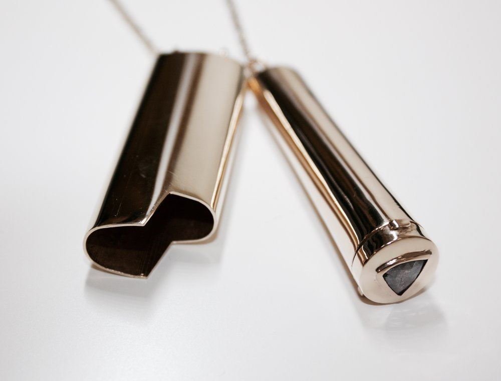 Limited Edition: INHALE LIGHTER NECKLACE - A chain and two friends. Limited edition lighter and joint holder with sliced diamond on a 32 inch chain.
