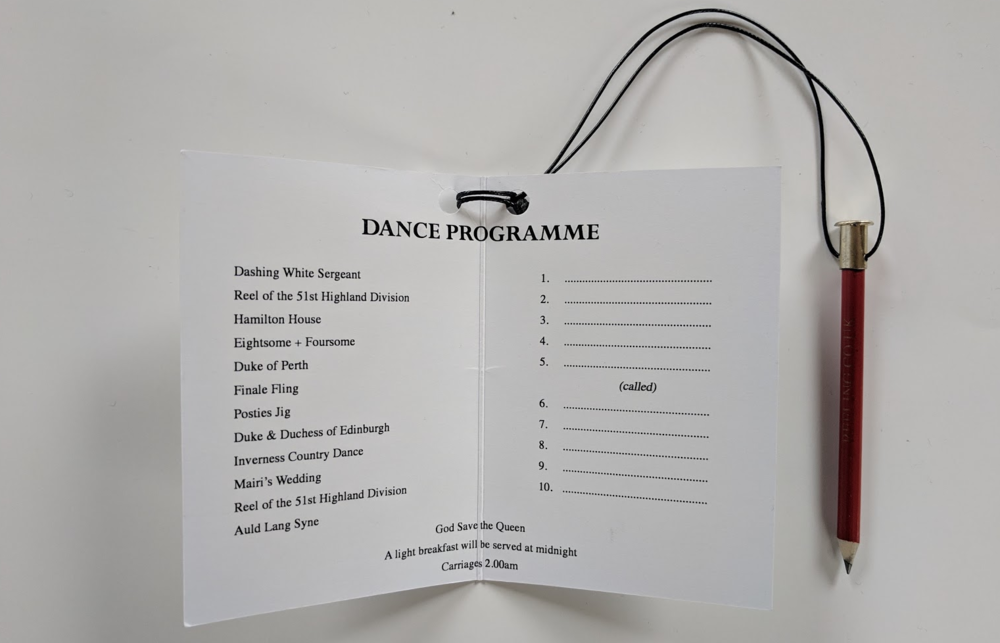 Supplied with string for easy attachment to dance cards