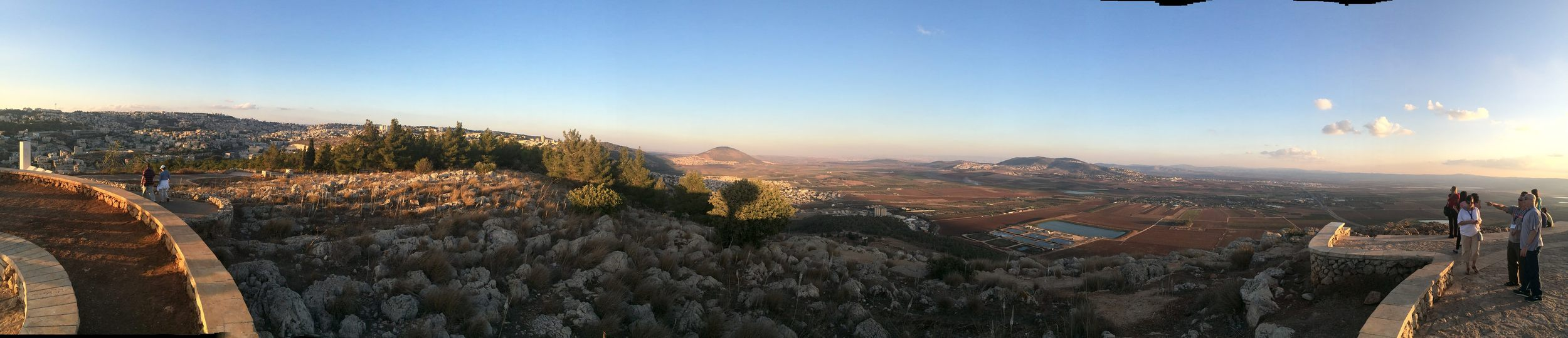 Panoramic: Nazareth on the left and the spot where Joseph is sold is in the farthest distance, about 3/4 of the way across the picture.