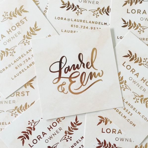 Copper foil stamped square business cards
