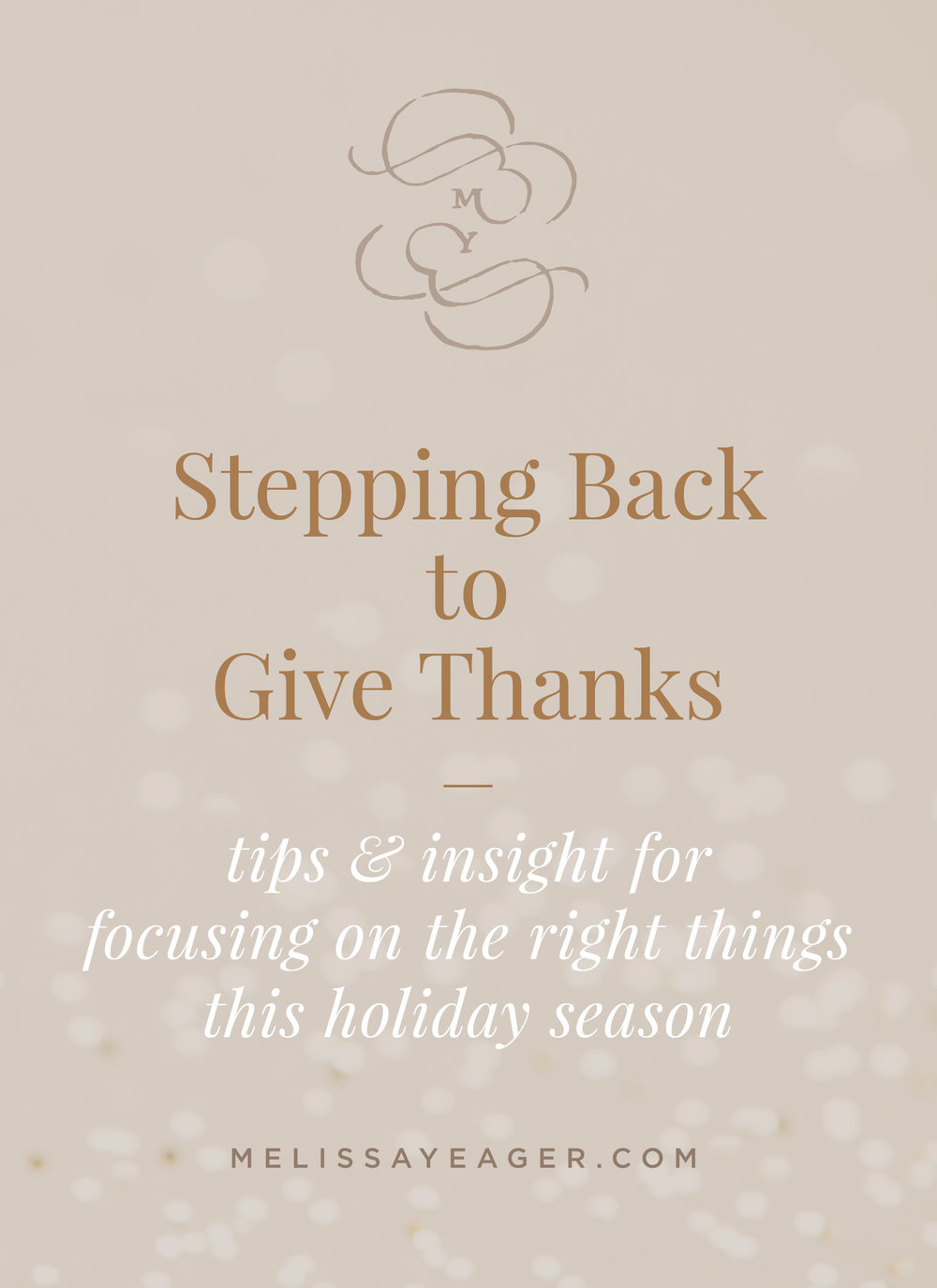 Stepping Back to Give Thanks - tips & insight for focusing on the right things this holiday season