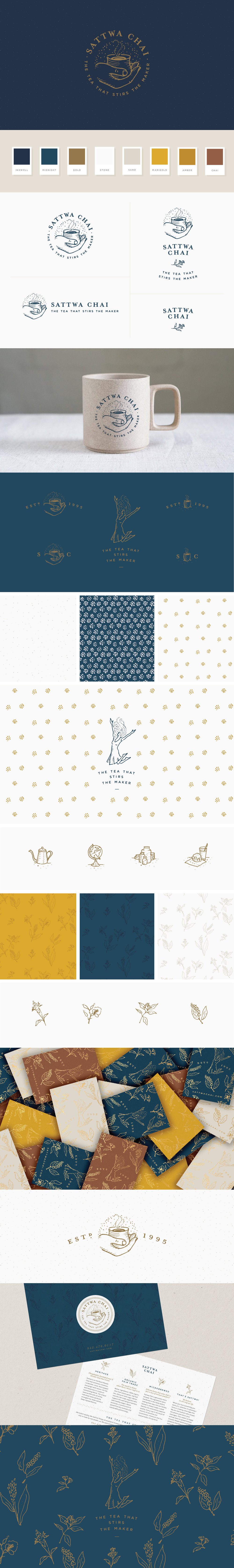 Sattwa Chai -logo &brand identity design crafted by Melissa Yeager