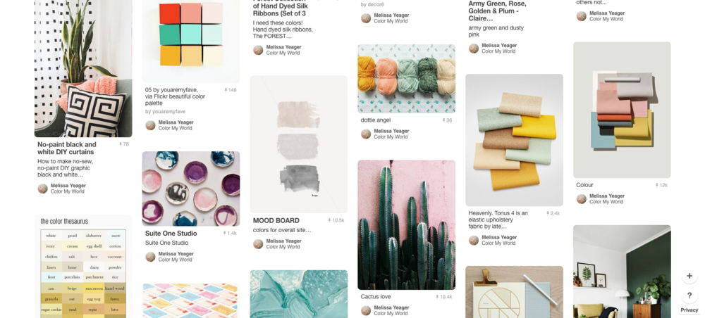 Meanwhile, my color board on Pinterest is a little bit of everything. Who knew yarn could be so inspiring!?