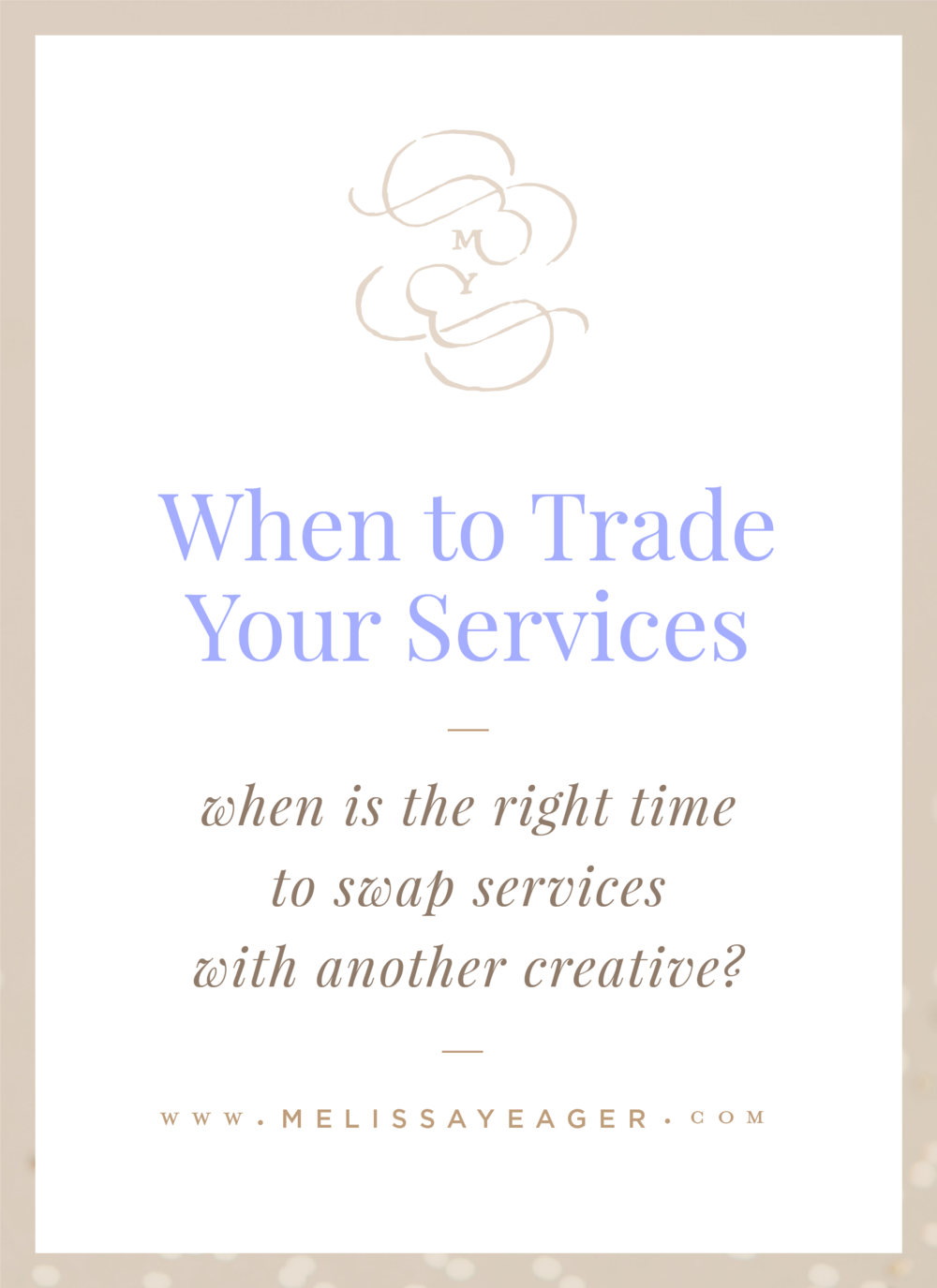 When to Trade Your Services - when is the right time to swap services with another creative?