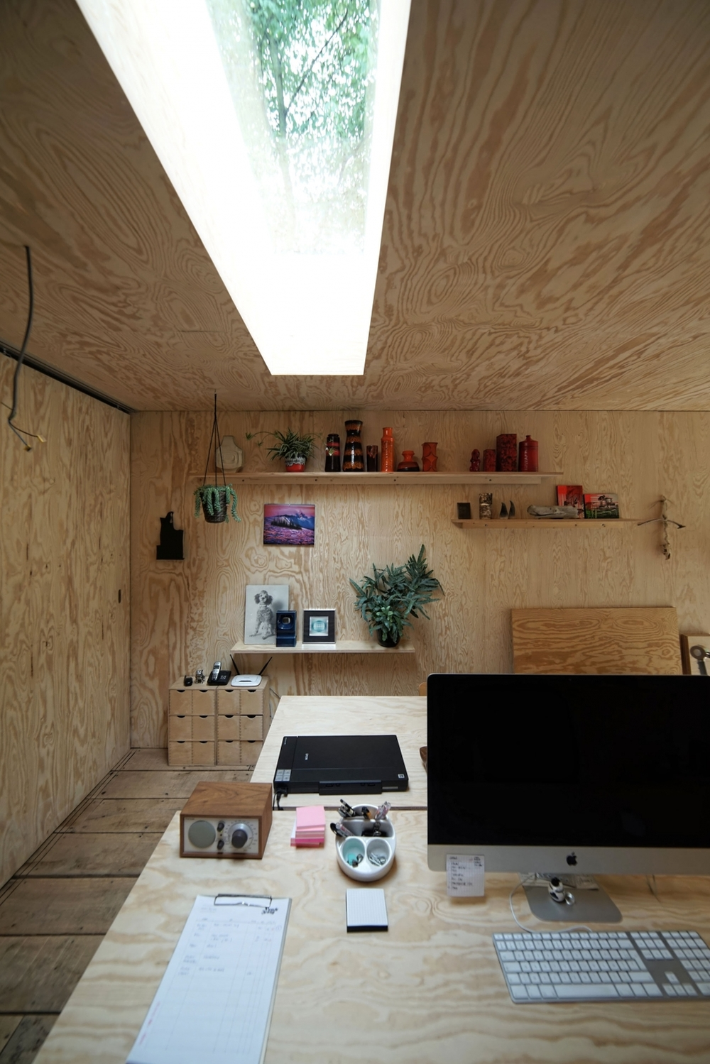 All plywood office space