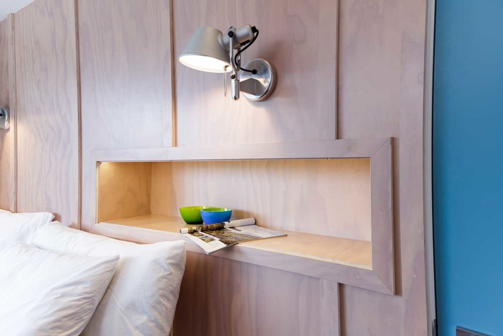 plywood bedroom shelf