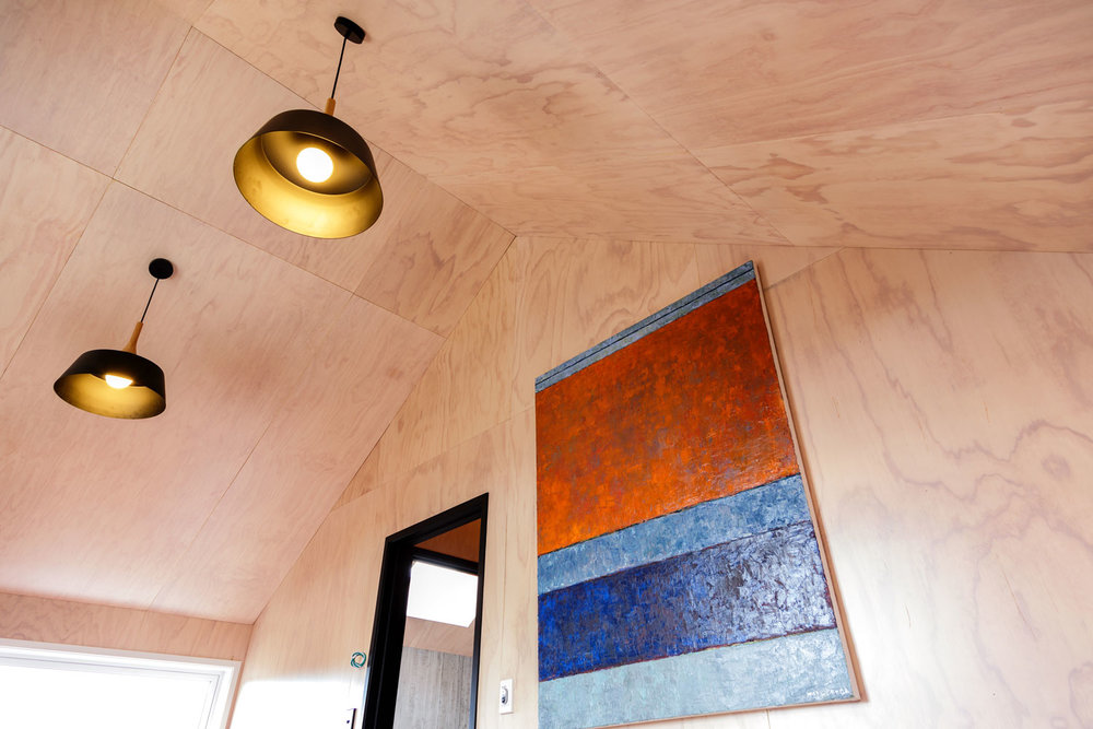 Plywood loft ceiling