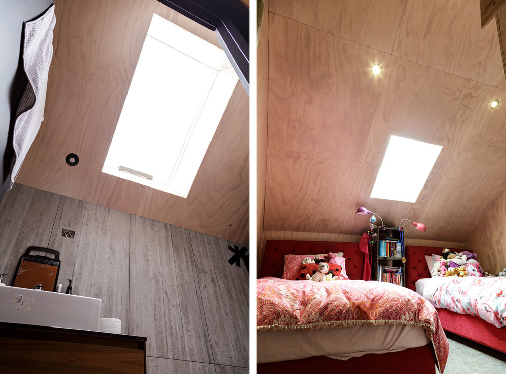 Plywood bathroom and bedroom loft