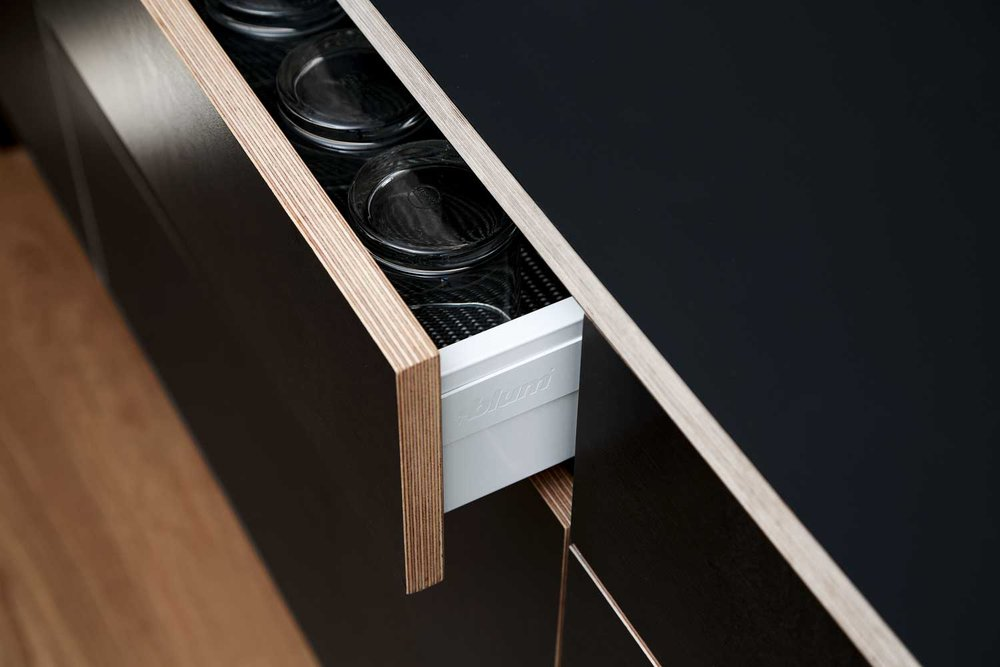 Black plywood kitchen detail