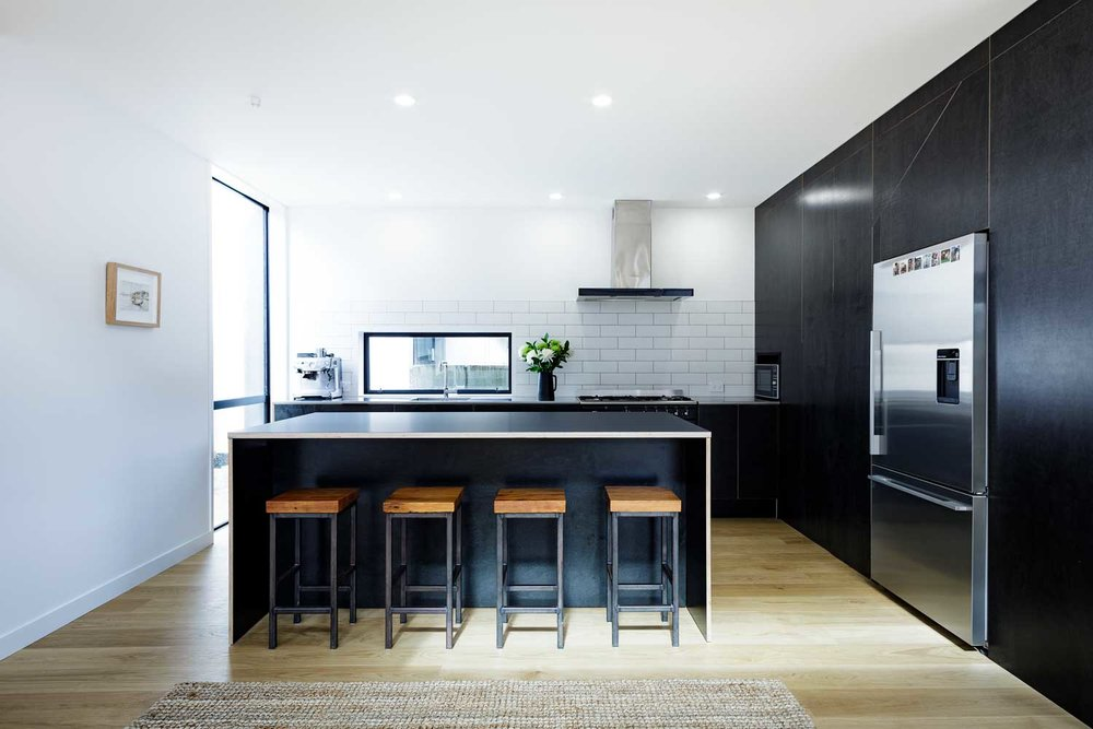 Black plywood kitchen
