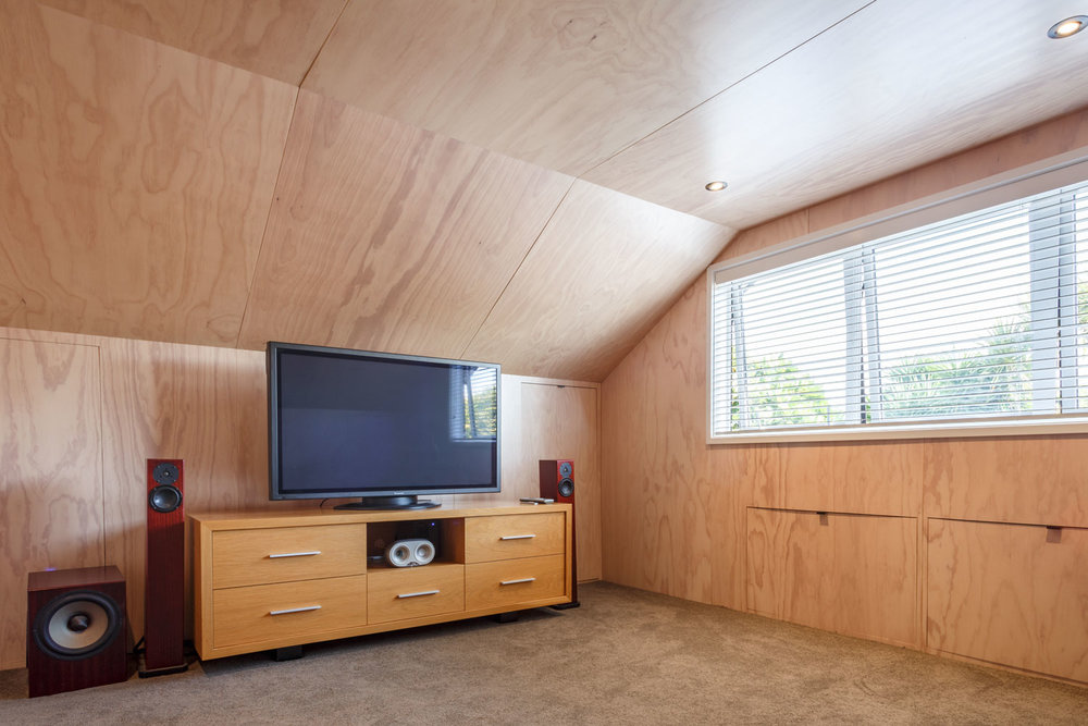 plywood lining loft living room