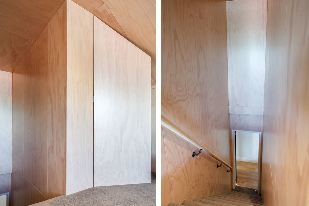 plywood wall lining loft staircase