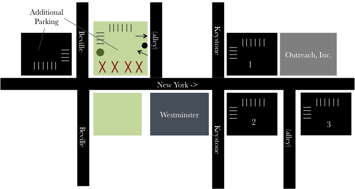 "With the construction on New York Street, we want to communicate as clearly as possible about our available parking. The numbered lots and the spaces labeled ""Additional Parking"" are all open for use, as well as street parking along Beville and Keystone."