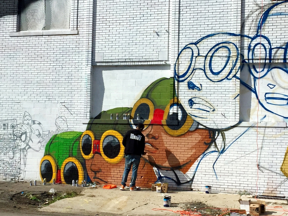Murals in the Market Artist Hebru Brantley at work