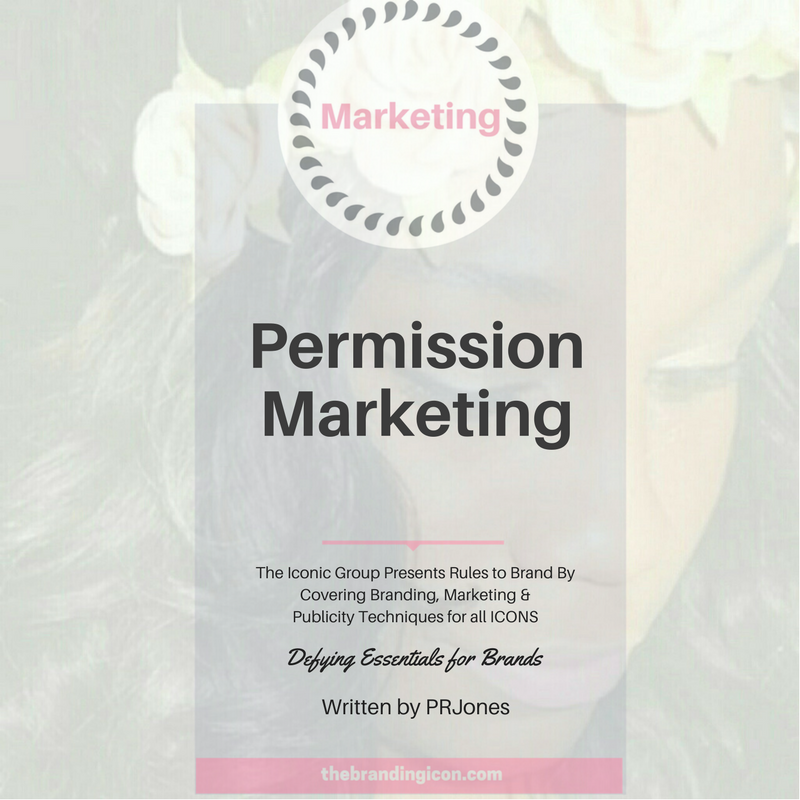 "Permission Marketing is a new technique, 1999 to be exact, that inspires an audience to want to hear from you. This method (and book) written by Seth Godin covers how permission marketing is a ""privilege"" (not a right) of delivering anticipated, personal and relevant messages to an audience that wants to hear from you. This technique is non-traditional however it is extremely popular among thought leaders in the branding and marketing world today. Once the consumer opts in to receiving a brand's content it is a grant of permission into the user's world. This grant of authority is a marketing technique used by brands to sell goods and services.   Seth goes to cover three strategies used:  1.    Anticipated: people will expect the service/product from the brand  2.    Personal: How the marketing relates to the consumer  3.    Relevant: the marketing information is that your customers are interested in     5 Levels of Permission are as followed:  -          Situational – permission by providing personal information  -          Brand Trust - permission by continuing supplying consumers need  -          Personal Relationship – permission by relationship with someone in the brand  -          Points Permission – permission by incentive or opportunity  -          Intravenous Permission - permission by specific good or service"