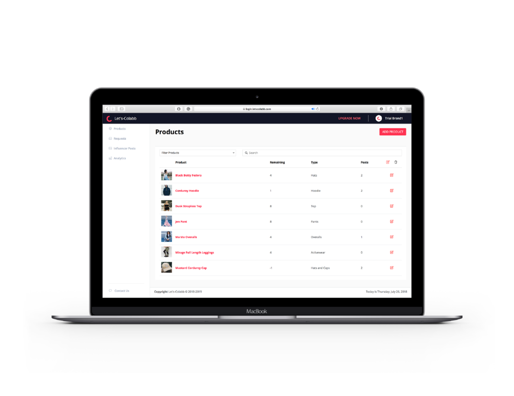 1 - Showcase - Add and manage the products that you want to be showcased to our community of influencers.