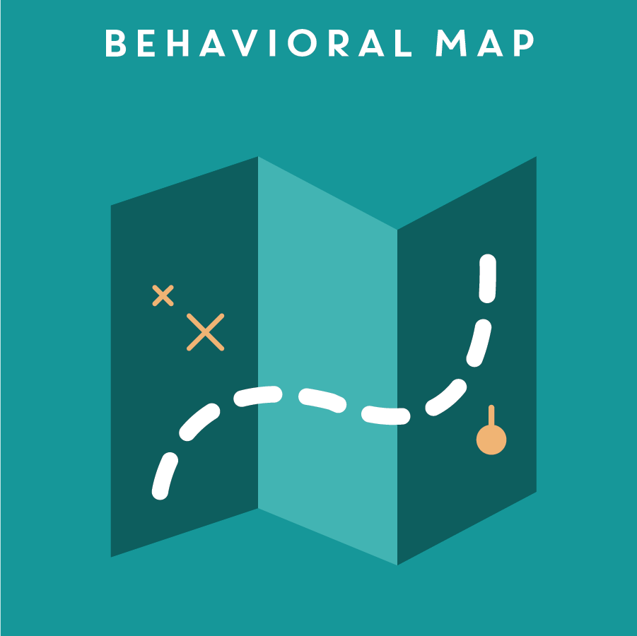 BEHAVIORAL MAP 使用者行為圖   A behavioral map shows people's behavior at a certain space over a period of time. The tracking focuses on either a particular spot, or a specific individual.  It allows researchers to identify repeating behaviors within a given environement.