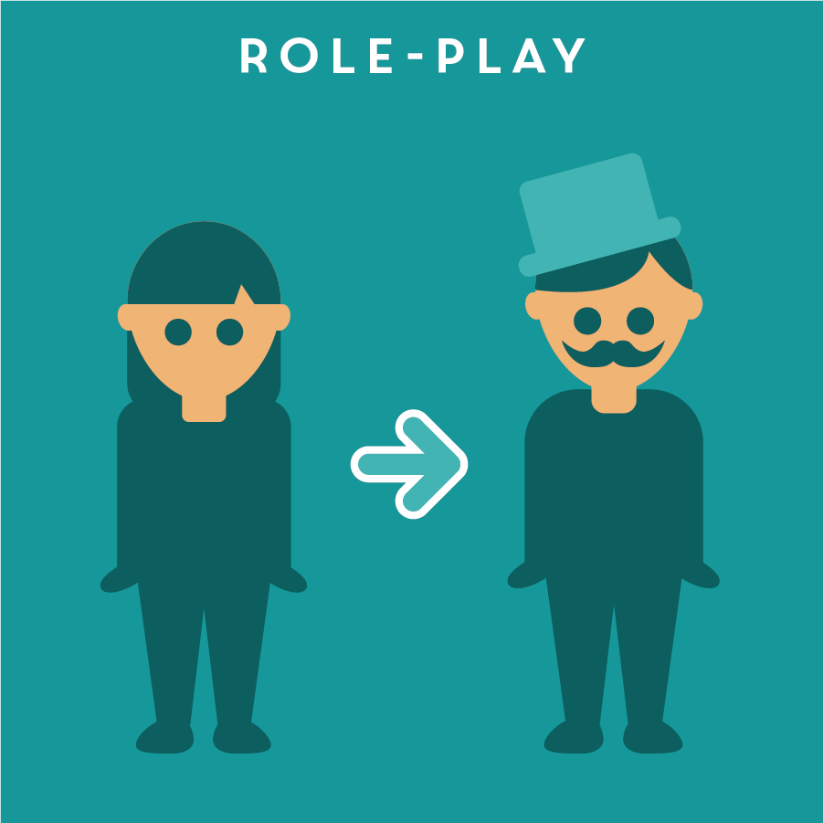 "ROLE-PLAY 角色扮演   Role-playing is a quick and easy way to explain an idea by acting it out. This method allows designers to collect feedback quickly, and with the flexibility to ""re-act"" the idea with modifications on the fly."