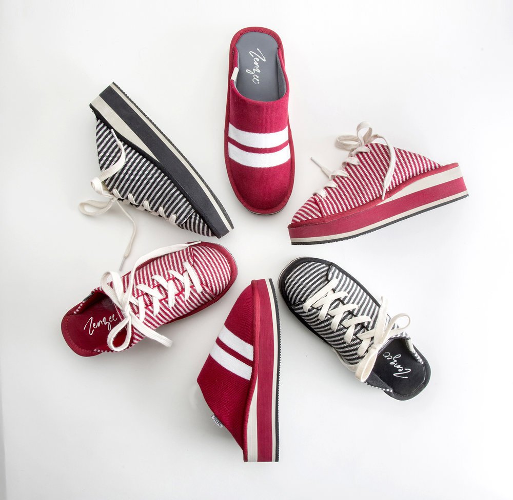 Zenzee slip-on, lace-up mule style sneaker for women. On trend! Stripes. Mules. Platform Sneaker for Women.