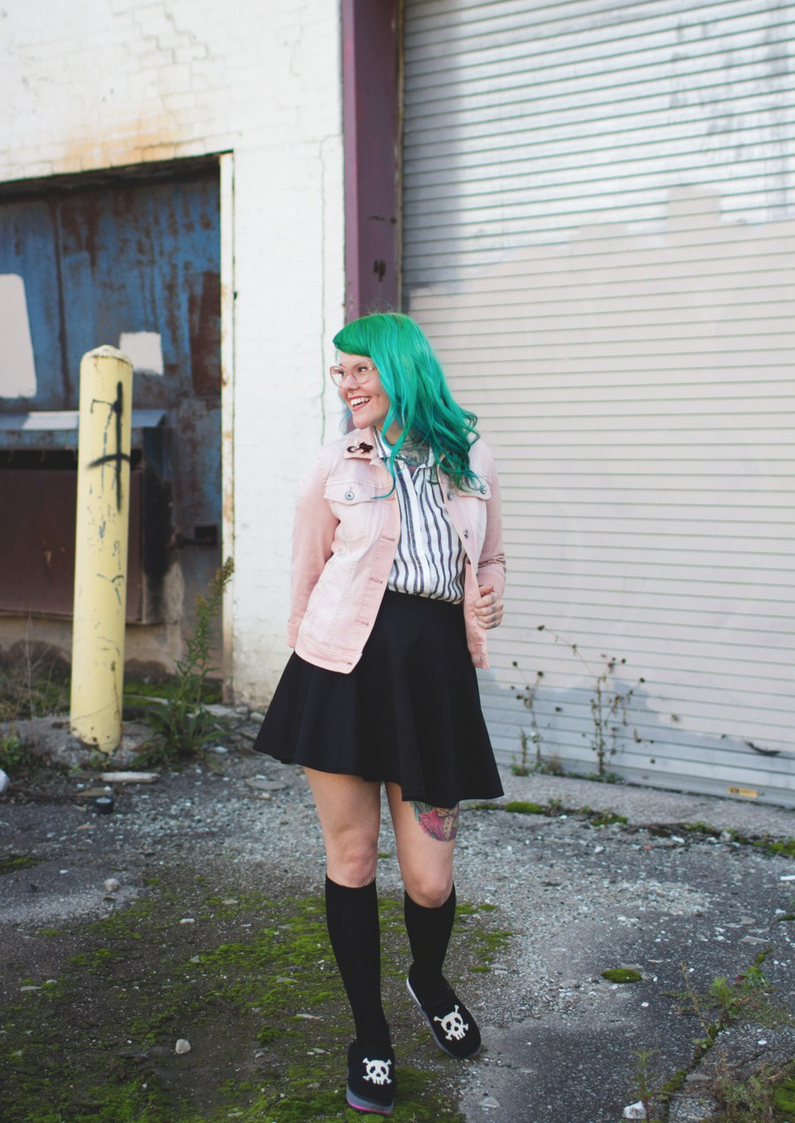 what she wore... - pink, black & green