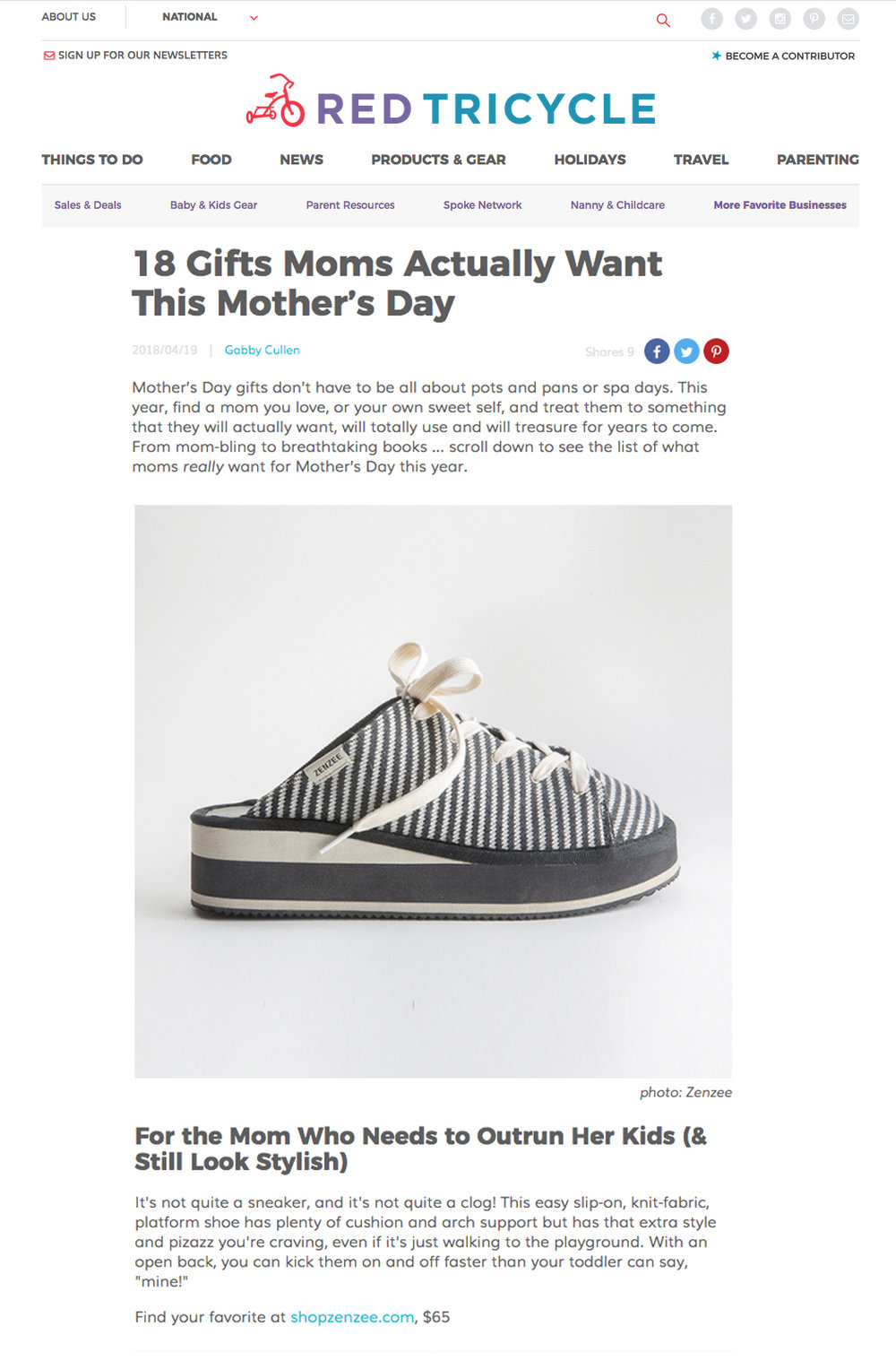 Zenzee Knit Kicks featured in REd Tricycle's Mothers Day Gift Guide